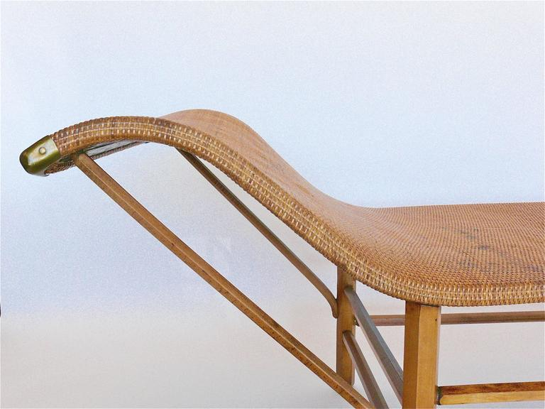 Wicker chaise longue at 1stdibs for Cane chaise longue