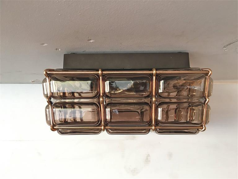 Austrian Geometric Brass and Glass Flush Mount For Sale