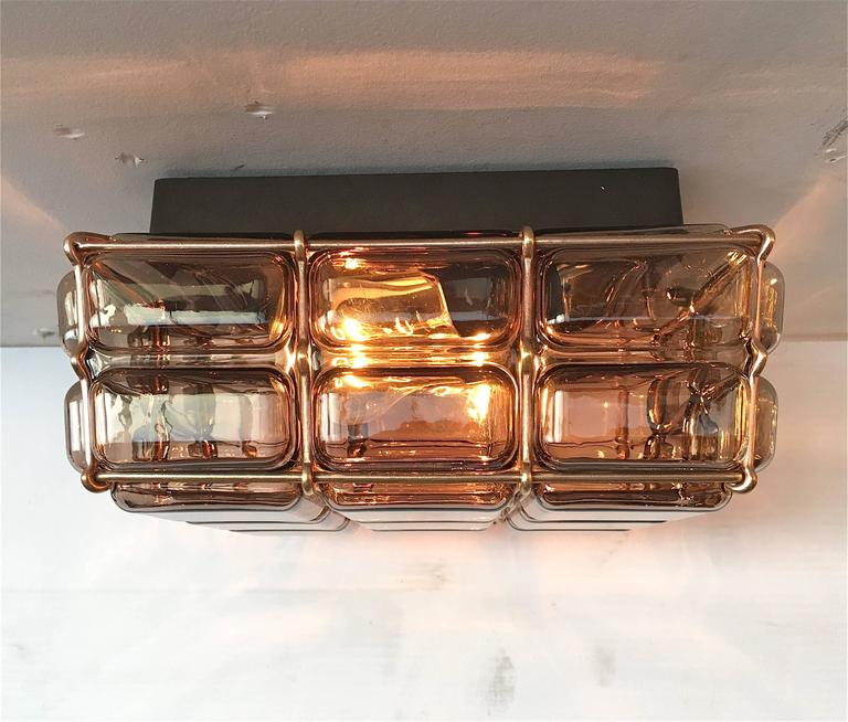 Mid-20th Century Geometric Brass and Glass Flush Mount For Sale
