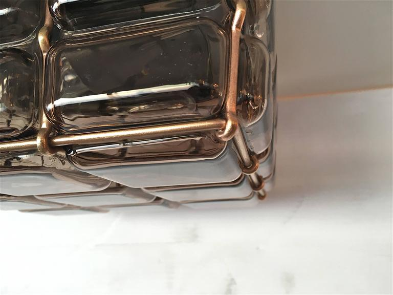 Geometric Brass and Glass Flush Mount In Excellent Condition For Sale In Los Angeles, CA