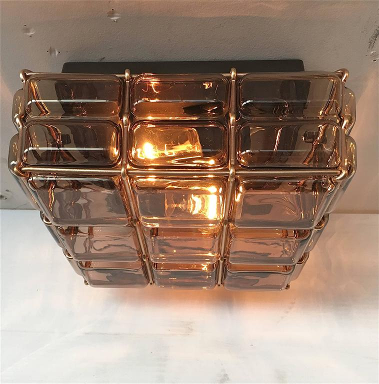 Geometric Brass and Glass Flush Mount For Sale 1