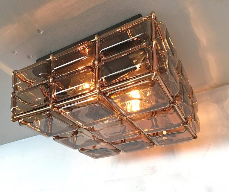 Geometric Brass and Glass Flush Mount For Sale 2
