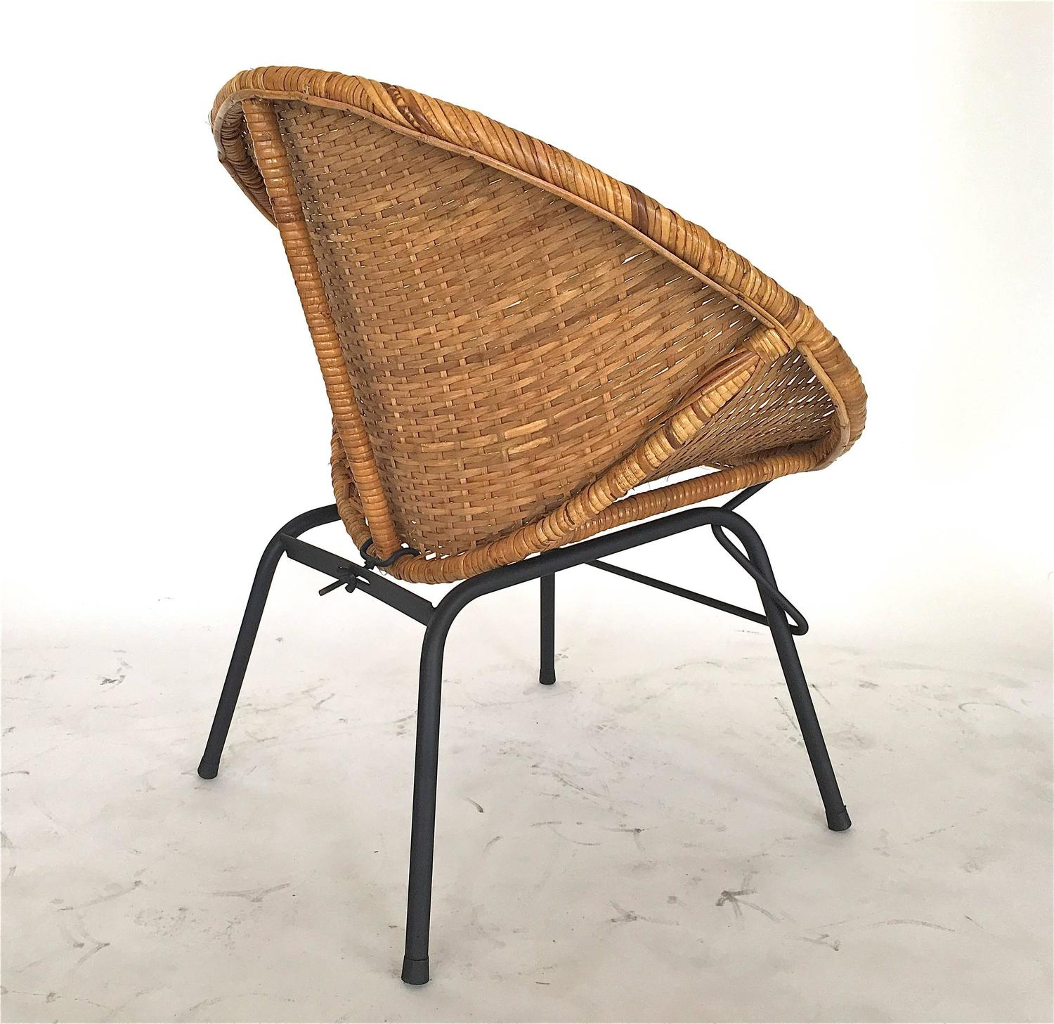 Wicker And Iron Scoop Bucket Chairs For Sale At 1stdibs