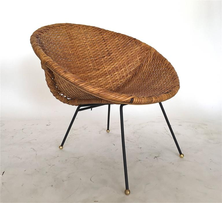 Woven Wicker And Iron Scoop Chairs At 1stdibs