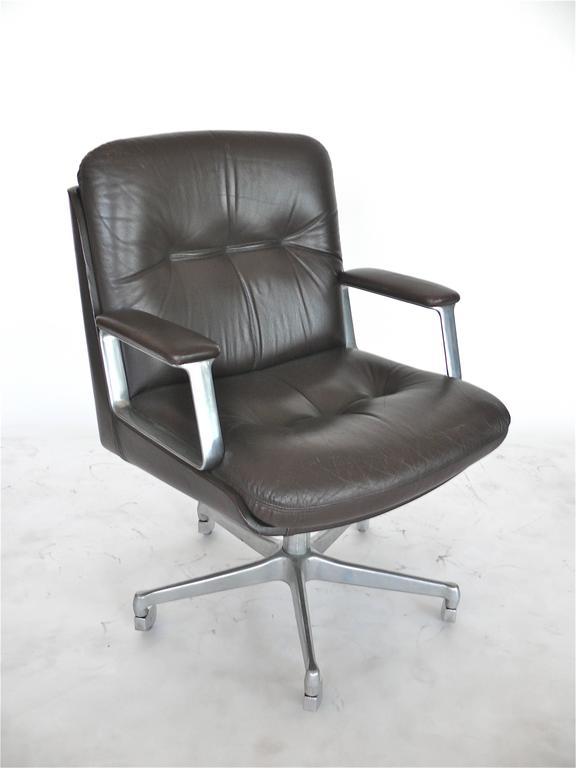 Great Italian Leather Office Chair In The Style Of Osvaldo Borsani With 5 Star Aluminum Base
