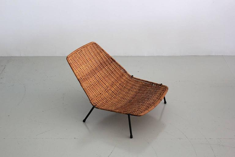 Iron Woven Wicker Pool Chairs  For Sale