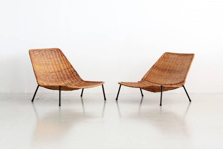 Woven Wicker Pool Chairs  In Excellent Condition For Sale In Los Angeles, CA