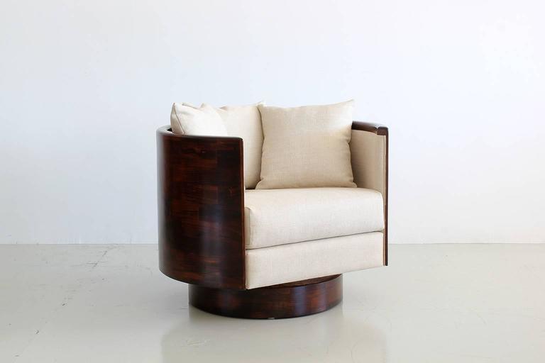 American Hancock Barrel Back Swivel Chairs For Sale