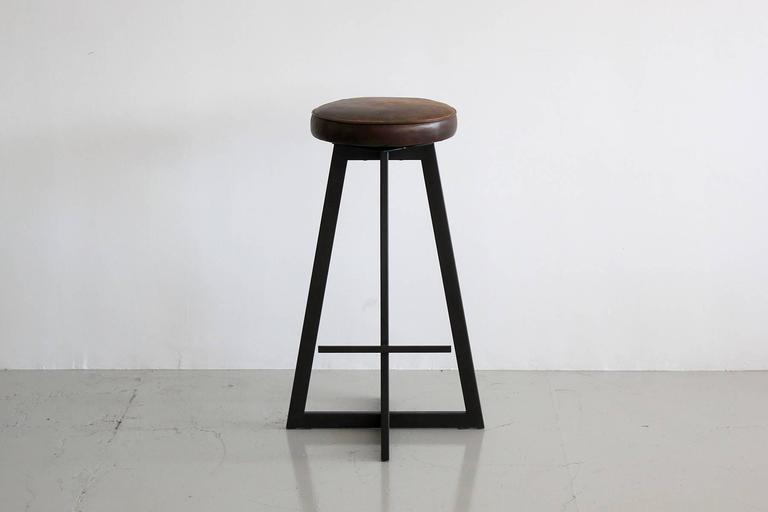 """Contemporary Iron """"T"""" Barstool For Sale"""