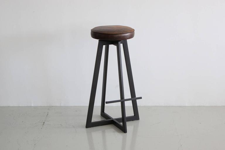 """Iron """"T"""" Barstool In Excellent Condition For Sale In Los Angeles, CA"""