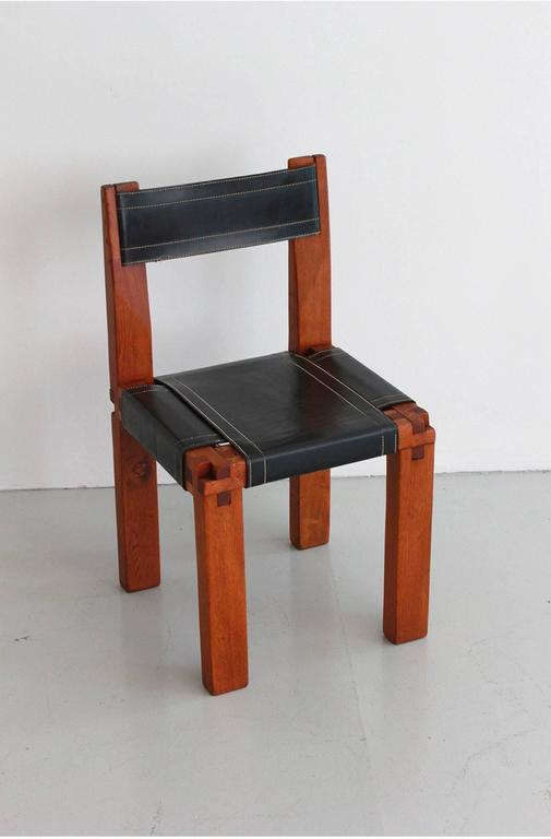 French Pair of Chairs by Pierre Chapo For Sale