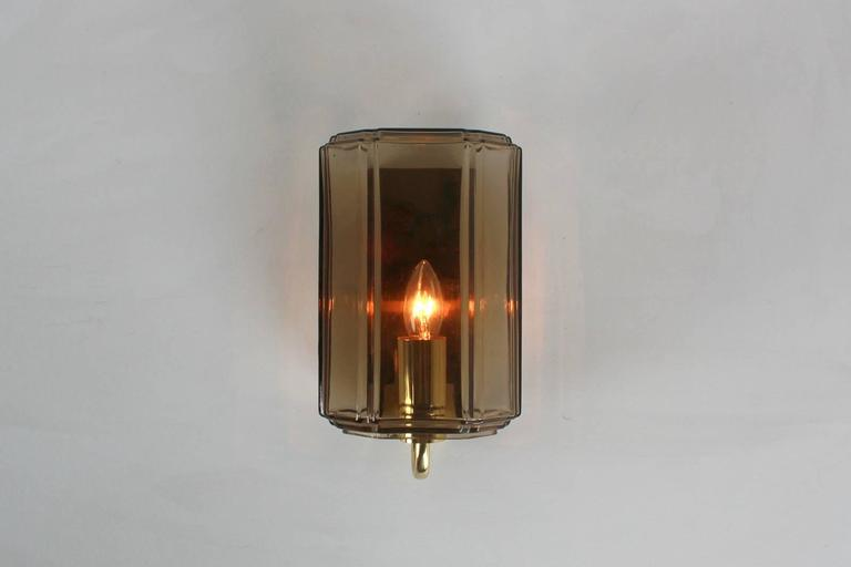 20th Century Austrian Smoked Brown Glass Sconces For Sale