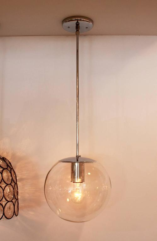 Blown Glass Clear Glass Globe Pendant For Sale