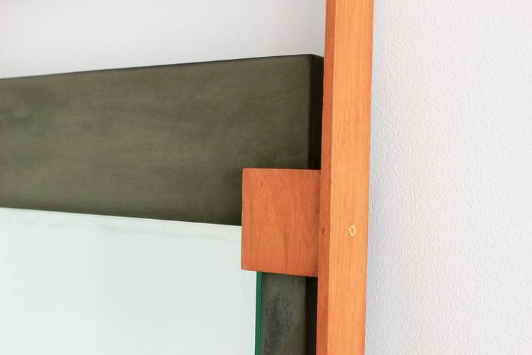 Suede Italian Mirror Attributed to Ico Parisi For Sale