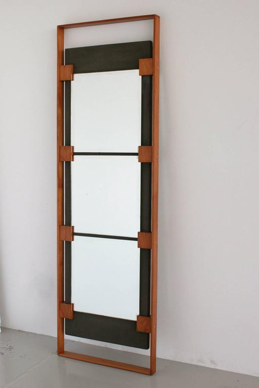 Wonderful Italian mirror with teak wood and green suede attributed to Ico Parisi.