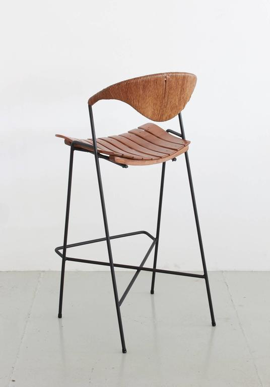 Arthur Umanoff Iron And Wicker Bar Stools At 1stdibs