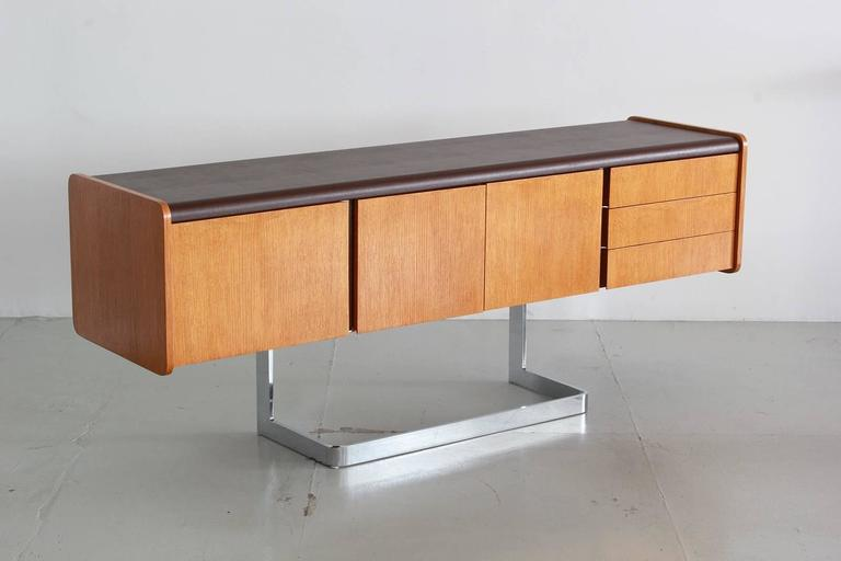 Oak And Chrome Credenza By Ste Marie And Laurent For Sale