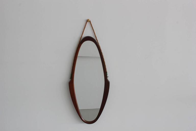 Mid-Century Modern Italian Teak and Rope Mirror For Sale
