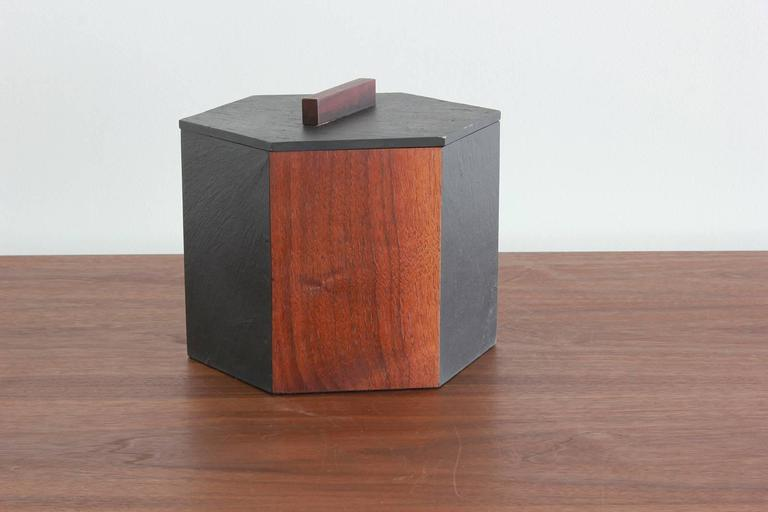 Slate and Teak Hexagonal Ice Bucket 2