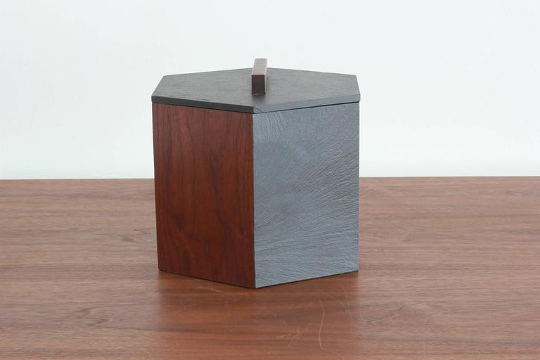 Slate and Teak Hexagonal Ice Bucket 3