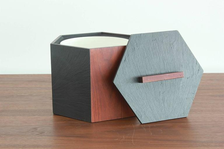 Slate and Teak Hexagonal Ice Bucket 4