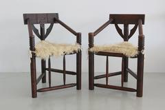 Carved African Monk Chairs