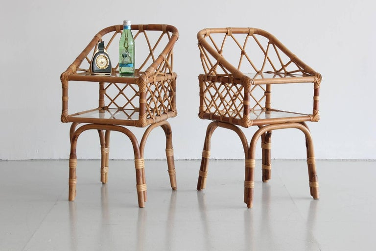 French Rattan End Tables 5