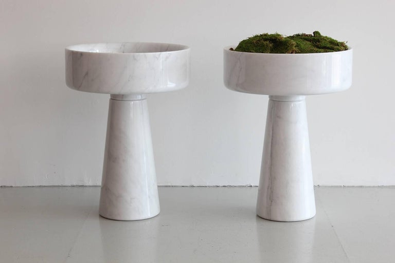 Incredible pair of marble vessels by Angelo Mangiarotti.