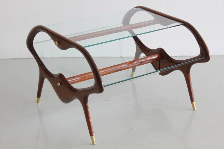 Italian Glass and Walnut Table and Magazine Stand 2