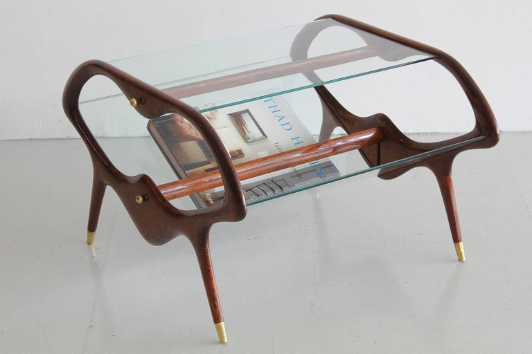 Italian Glass and Walnut Table and Magazine Stand 4