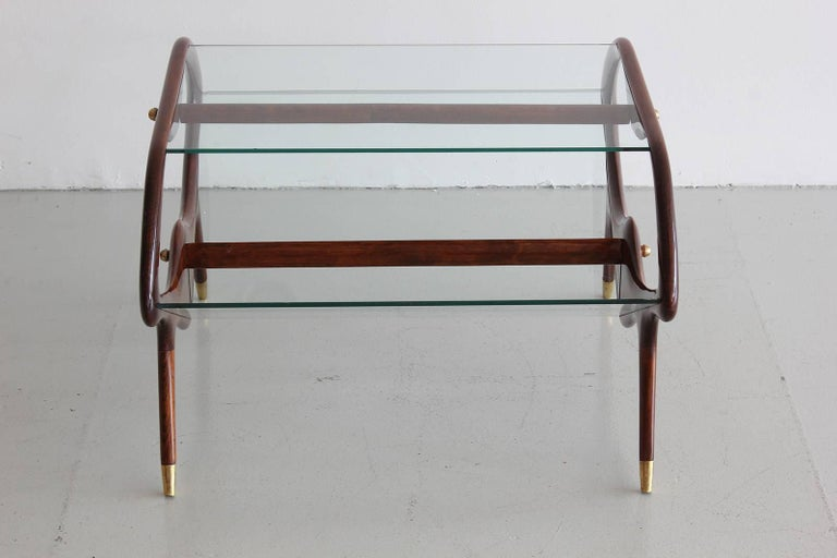 Italian Glass and Walnut Table and Magazine Stand For Sale 1