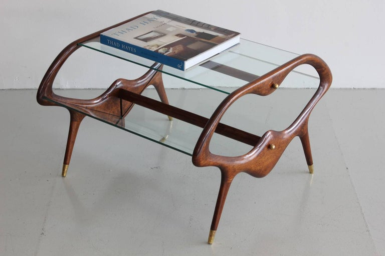 Italian Glass and Walnut Table and Magazine Stand For Sale 2