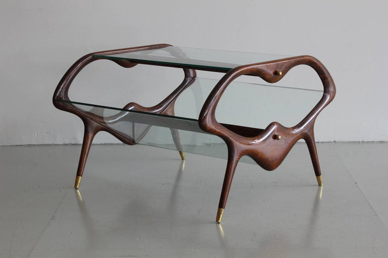 Italian Glass and Walnut Table and Magazine Stand 7