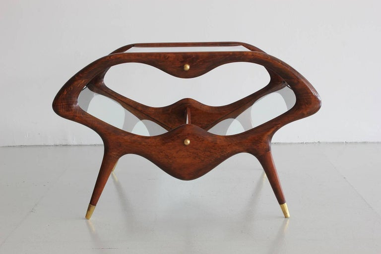 Italian Glass and Walnut Table and Magazine Stand 10