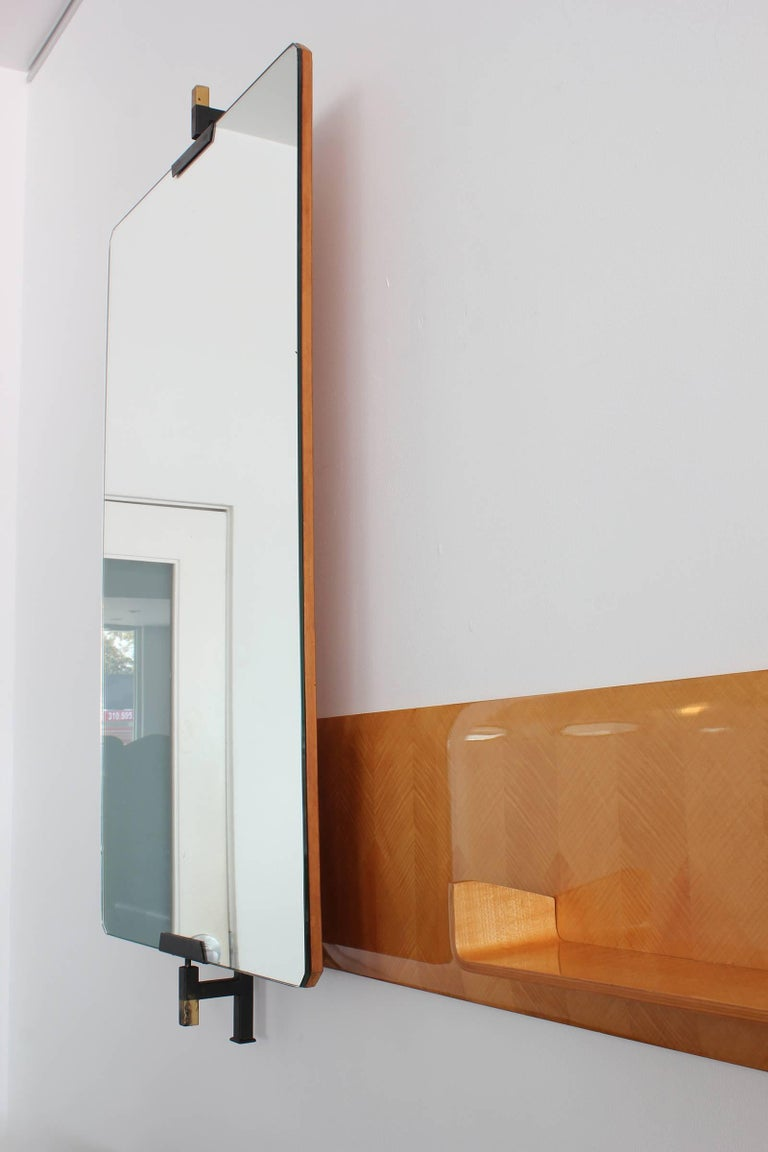 20th Century Large Italian Pivoting Floating Mirror and Shelf  For Sale