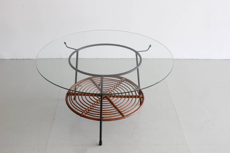 Italian Wicker and Iron Table with Glass Top by Raymor 2