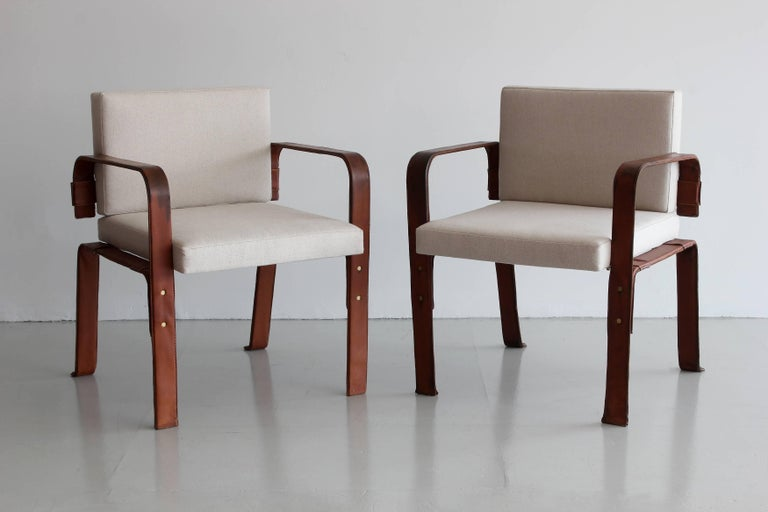 Pair of Leather Wrapped Chairs by Jacques Adnet 8