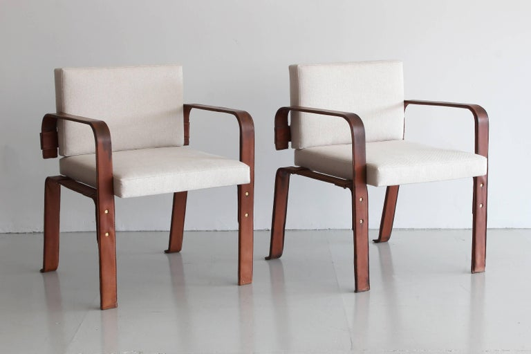 Pair of Leather Wrapped Chairs by Jacques Adnet 2
