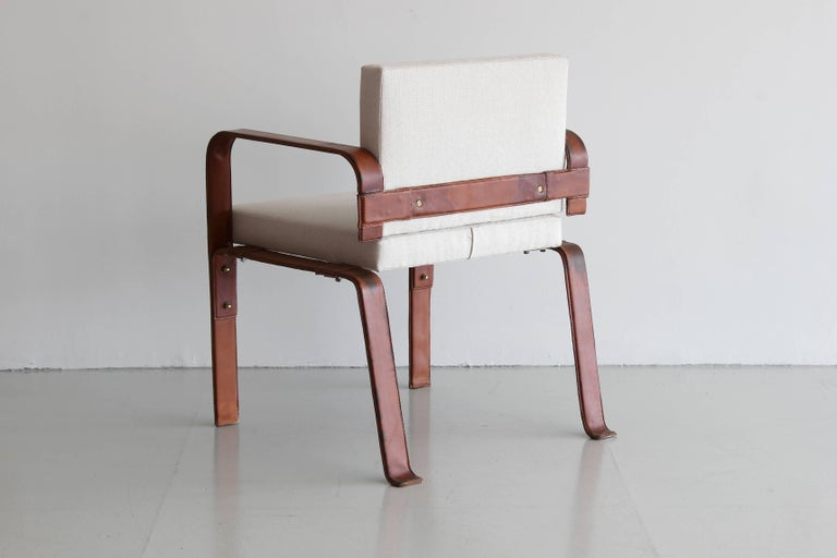 Pair of Leather Wrapped Chairs by Jacques Adnet 4