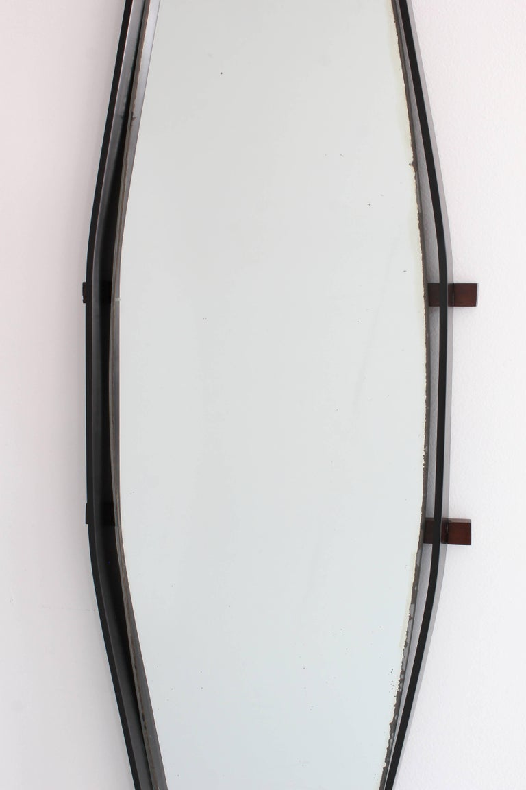 Mid-Century Modern Wood Wrapped Italian Floating Mirror For Sale