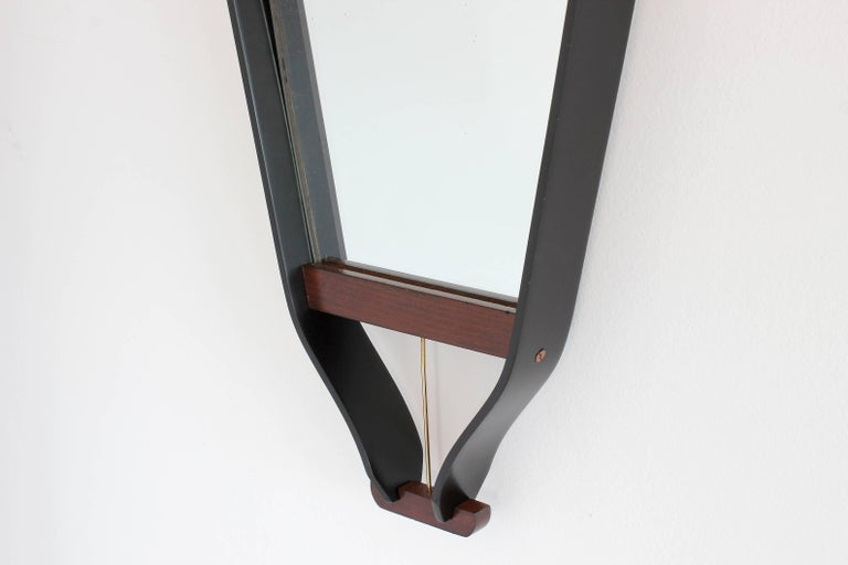 Wood Wrapped Italian Floating Mirror For Sale 1