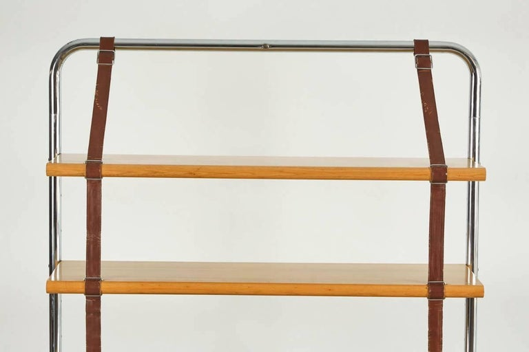 Italian Large Leather and Oak Wall Shelf by Luigi Massoni For Sale