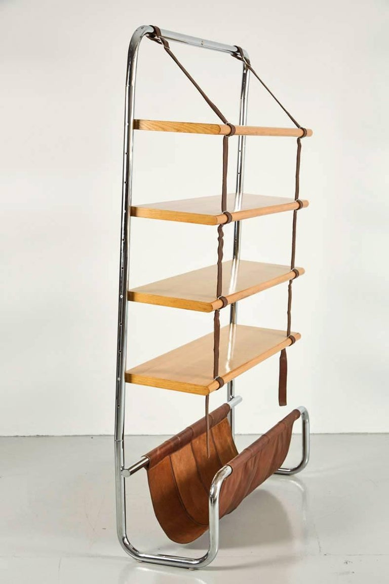 Steel Large Leather and Oak Wall Shelf by Luigi Massoni For Sale