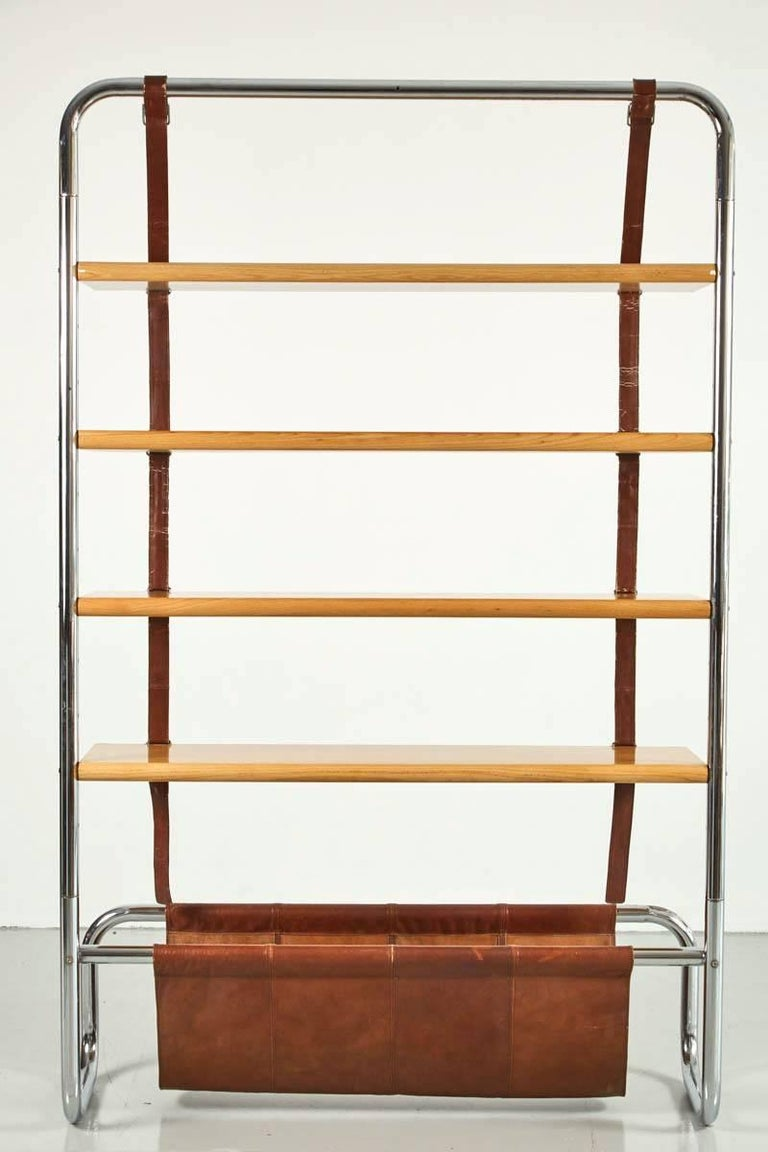 Large Leather and Oak Wall Shelf by Luigi Massoni For Sale 1