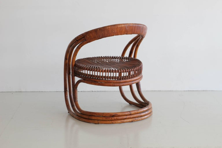 Sculptural Curved Rattan Chair 3