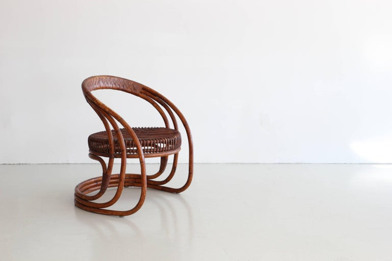 Sculptural Curved Rattan Chair 6