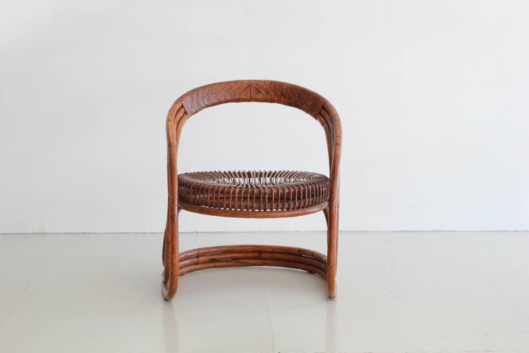 Sculptural Curved Rattan Chair 5