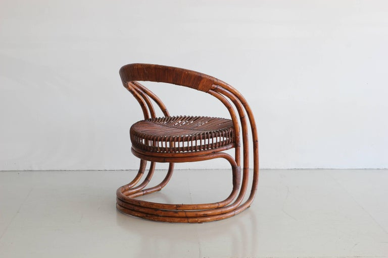 Sculptural Curved Rattan Chair 2