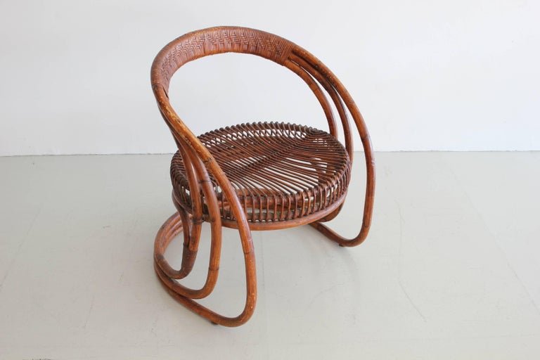Sculptural Curved Rattan Chair 4