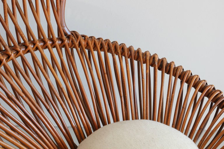Rattan Franco Albini Margherita Chairs and Table For Sale